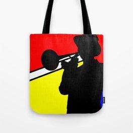 Jazz trombone player silhouette mondrian colors Tote Bag