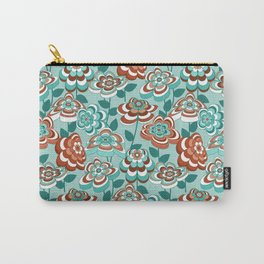 Mid Century Modern Retro Flower Pattern // Aqua, Turquoise, Teal, Rust, Clay, White Carry-All Pouch