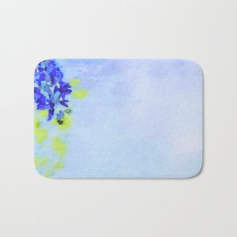 Watercolor of Spring background with blooming wisteria. Beautiful pink flowers Bath Mat