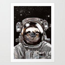 Astronaut Sloth Selfie Art Print