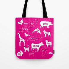 Animal Noises in Pink Tote Bag