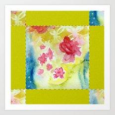 Watercolor Quilt Art Print