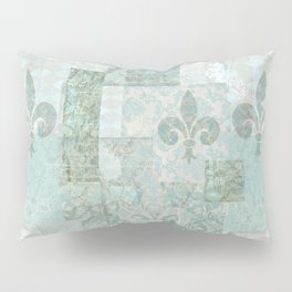 teal baroque vintage patchtwork Pillow Sham