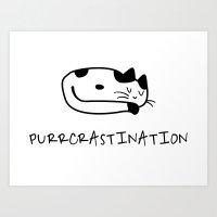 Purrcrastination Art Print