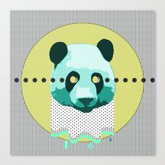 the blue panda who was melting black and white Canvas Print