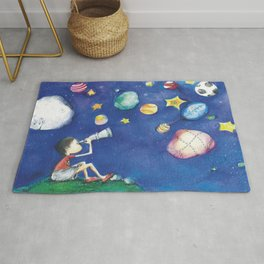 Stars and little planets Rug