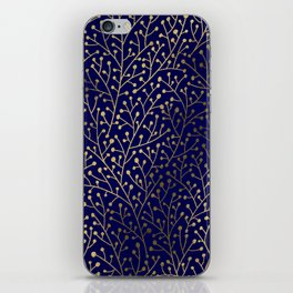 Gold Berry Branches on Navy iPhone Skin