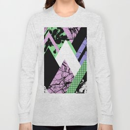 Textured Points - Marbled, pastel, black and white, paint splat textured geometric triangles Long Sleeve T-shirt