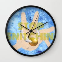 """coasters Wall Clocks featuring """"Stop Golden Snitchin'"""" Print Blue/Gold 1/2 by M.l. Gaynor"""