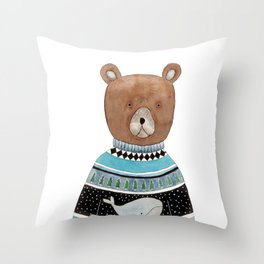 Bear in knitted sweater Throw Pillow