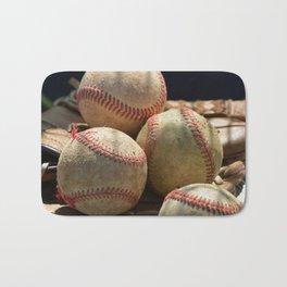 Baseballs and Glove Bath Mat