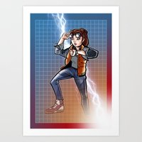 mcfly Art Prints featuring Marti McFly by Eye Opening Design