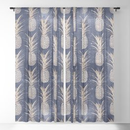 Modern Golden pineapples nebula pattern Sheer Curtain
