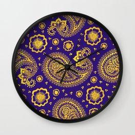 paisley: indigo & gold Wall Clock