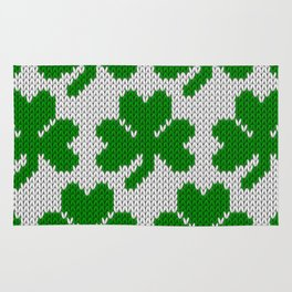 Shamrock pattern - white, green Rug
