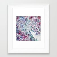 baltimore Framed Art Prints featuring Baltimore by MapMapMaps.Watercolors