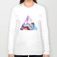 colorful Long Sleeve T-shirts featuring Agate, a vivid Metamorphic rock on Fire by Elena Kulikova