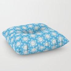 Kawaii Winter Snowflakes (Blue Sky) Floor Pillow