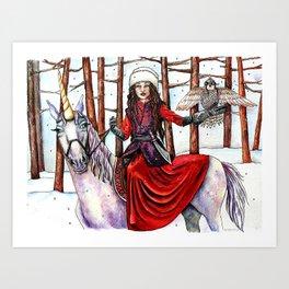 Winter Warrior by DeeDee Draz Art Print