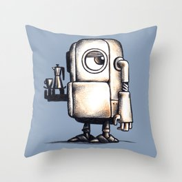 Robot Espresso #2 Throw Pillow
