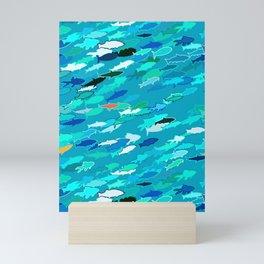 School of Fish, Shades of Turquoise and Aqua Mini Art Print