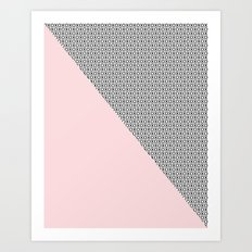 two triangles - blush and small xo Art Print