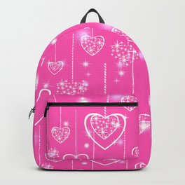 Openwork hearts on a bright pink background Backpack