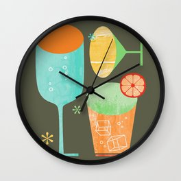 Pour & Drink Kitchen or Bar Art Wall Clock