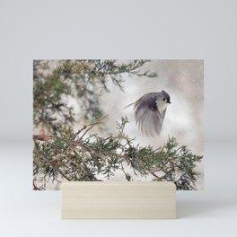 Fly-away Tufted Titmouse Mini Art Print
