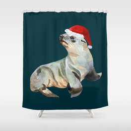 Christmas fur seal Shower Curtain