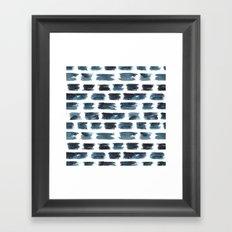 Indigo brushstrokes Framed Art Print