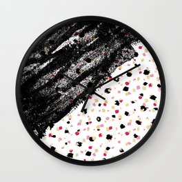 Pink, Black, & Faux Gold Paint Dots & Brushstrokes Wall Clock