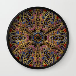 Mandala Gold Embossed on Faux Leather Wall Clock