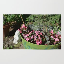 Sun kissed Garden Angel and Begonias Rug