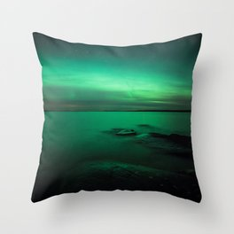 Northern Lights Over Lake In Finland Throw Pillow