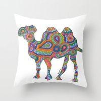 camel Throw Pillows featuring Camel  by Shanaabird