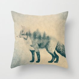 Fox and Forest - Shrinking Forest Throw Pillow