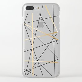 Contemporary Black and Gold Abstract Geometrical Pattern Clear iPhone Case