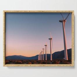 California Desert Windmills at Sunset with Mountain Vistas Serving Tray