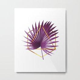 Minimal Tropical Palm Leaf - Palm And Gold - Gold Geometric - Modern Tropical Wall Art - Purple Metal Print