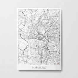 Hamburg Map White Metal Print