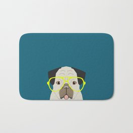 Emerson - Pug with neon Hipster Glasses, Cute Retro Dog, Dog, Husky with Glasses, Funny Dog Bath Mat