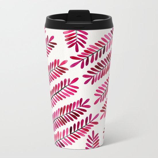 Pink Leaflets Metal Travel Mug