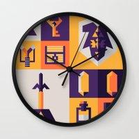 legend of zelda Wall Clocks featuring Legend of Zelda Items by Ann Van Haeken