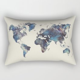 world map 124 blue  #worldmap #map Rectangular Pillow