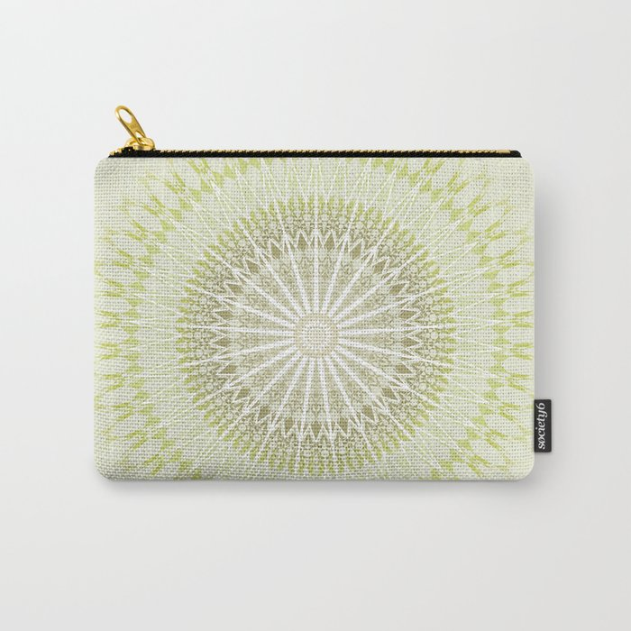 Olive Green White Mandala Carry-All Pouch