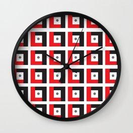 Red & Black L7 Squares Wall Clock