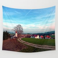 hiking Wall Tapestries featuring Hiking into springtime scenery | landscape photography by Patrick Jobst