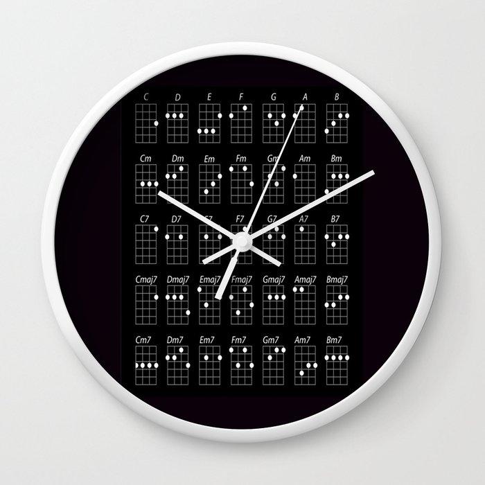Ukulele Chords Wall Clock By Jsebouvi Society6