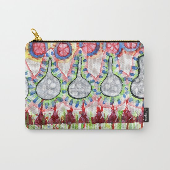 Garden with Silver Flowers and Flower Bulbs Carry-All Pouch